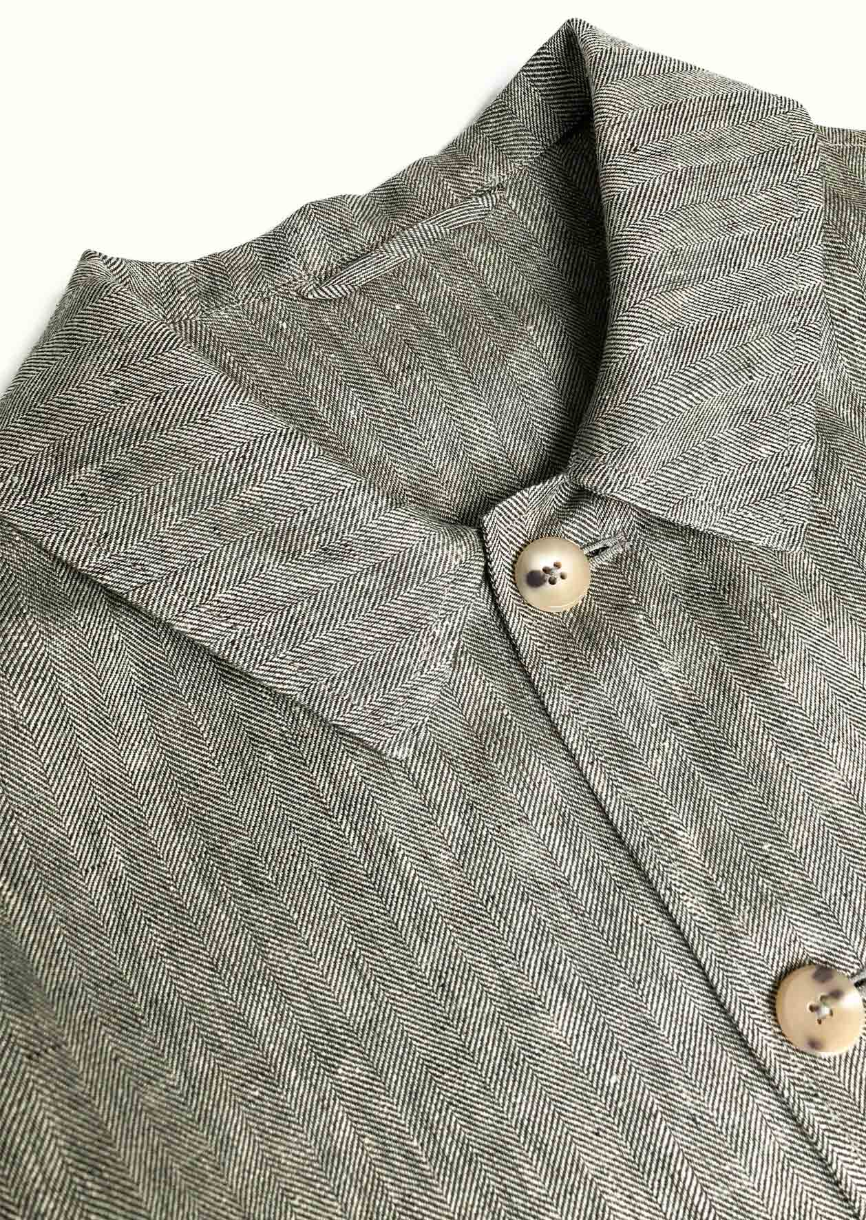 Architect jacket - Linen herringbone - Khaki & ecru