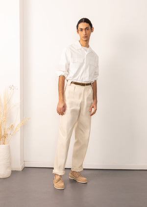 De Bonne Facture - Camp collar long sleeve shirt - Japanese vintage poplin - White