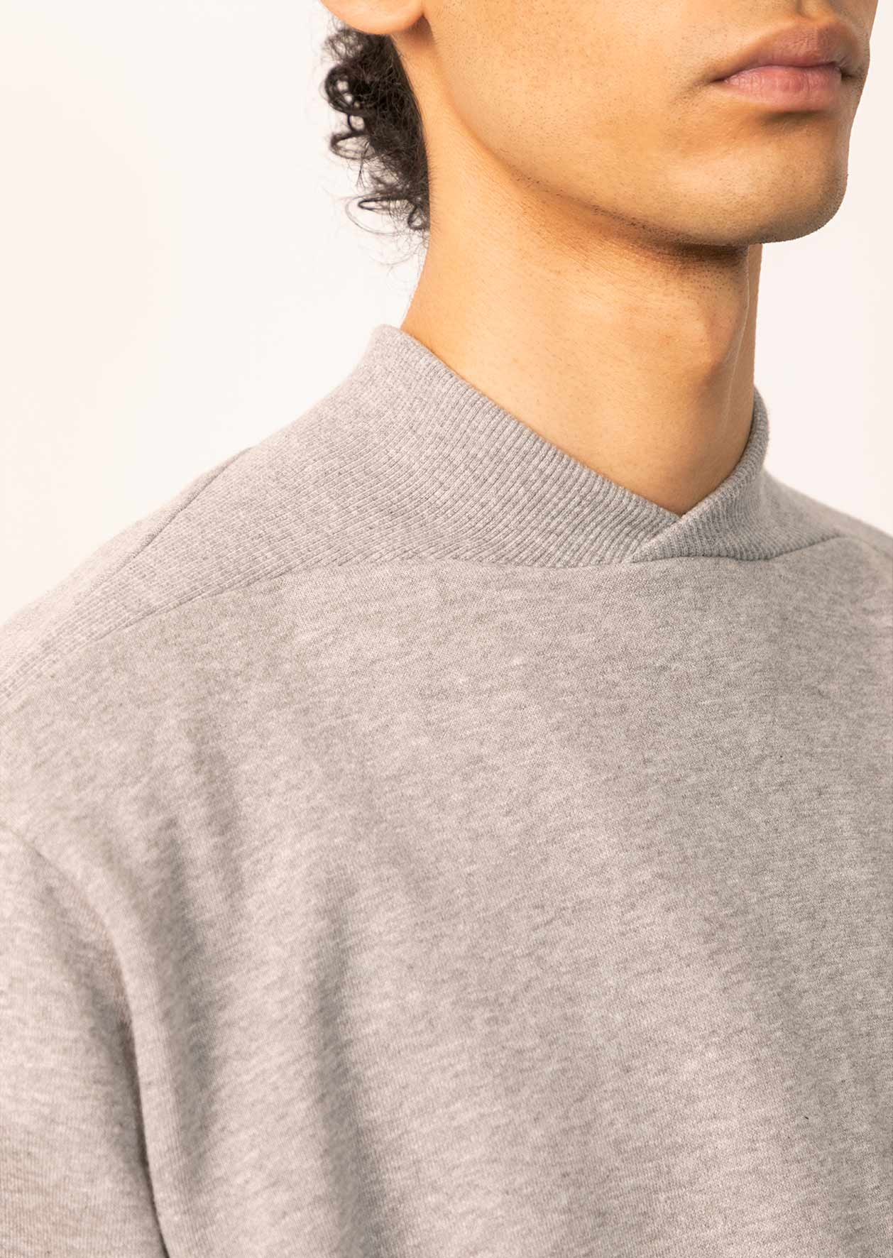 De Bonne Facture - Cyclist sweatshirt - Cotton fleece - Heathered grey