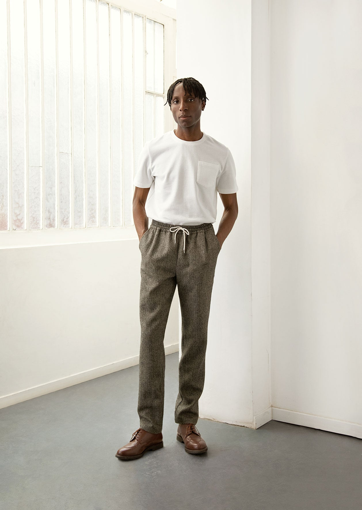 De Bonne Facture - Drawstring trousers - Brushed wool - Ecru & grey herringbone
