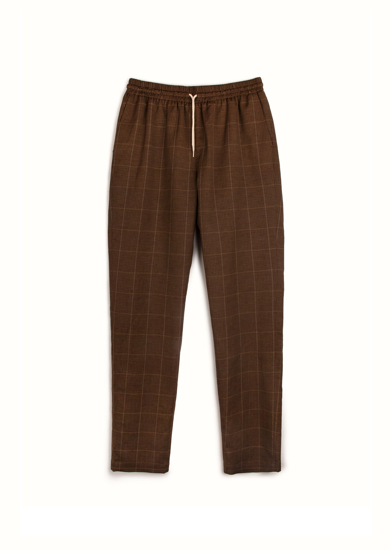 De Bonne Facture - -Easy trousers - Washed wool & linen - Taupe checks