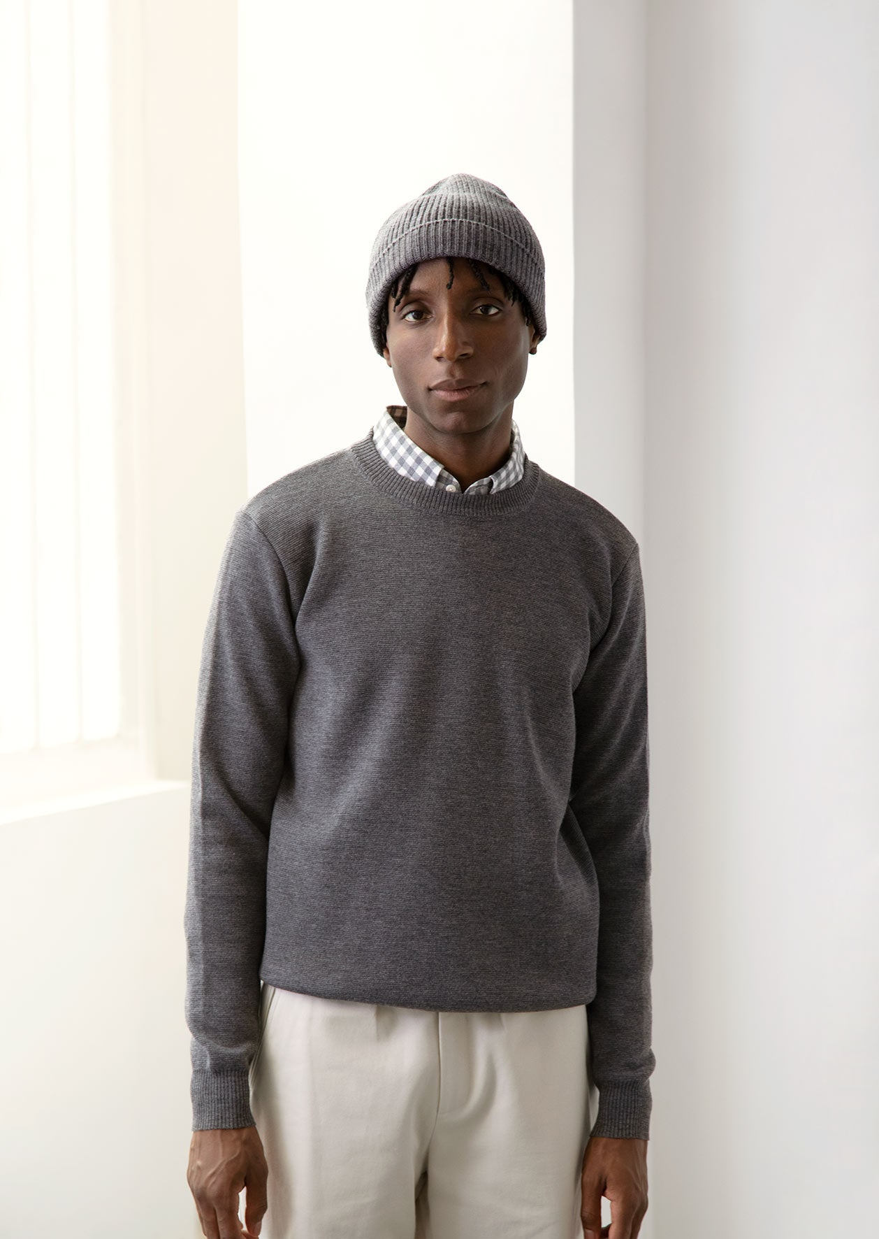 De Bonne Facture - Essential ribbed beanie - Merino wool - Heathered grey