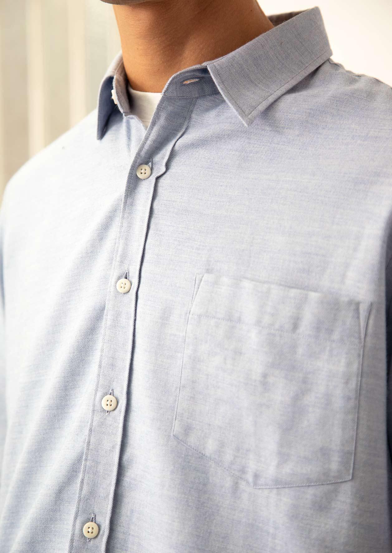 De Bonne Facture - Essential shirt - Cotton wool flannel - Denim blue