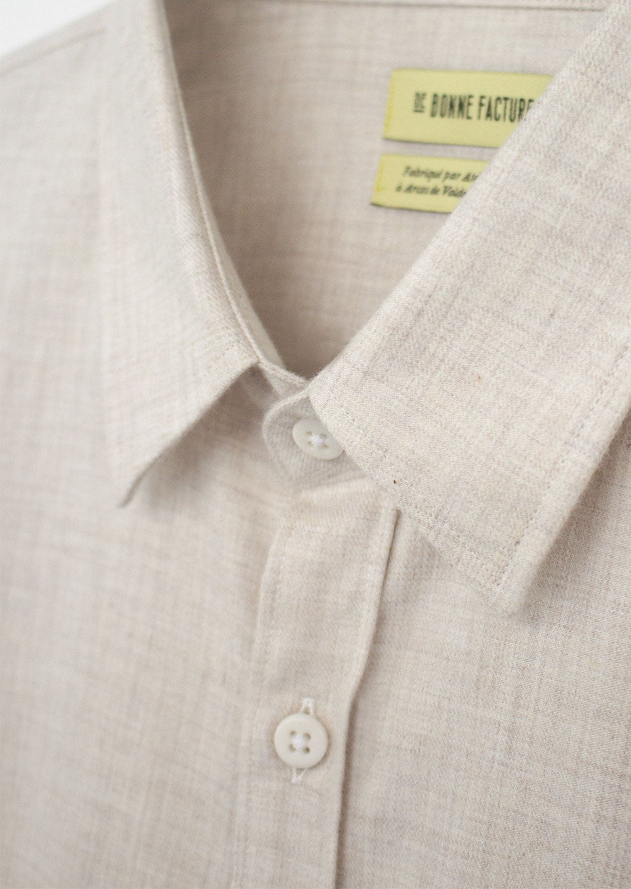 De Bonne Facture - Essential shirt - Cotton wool flannel - Light beige