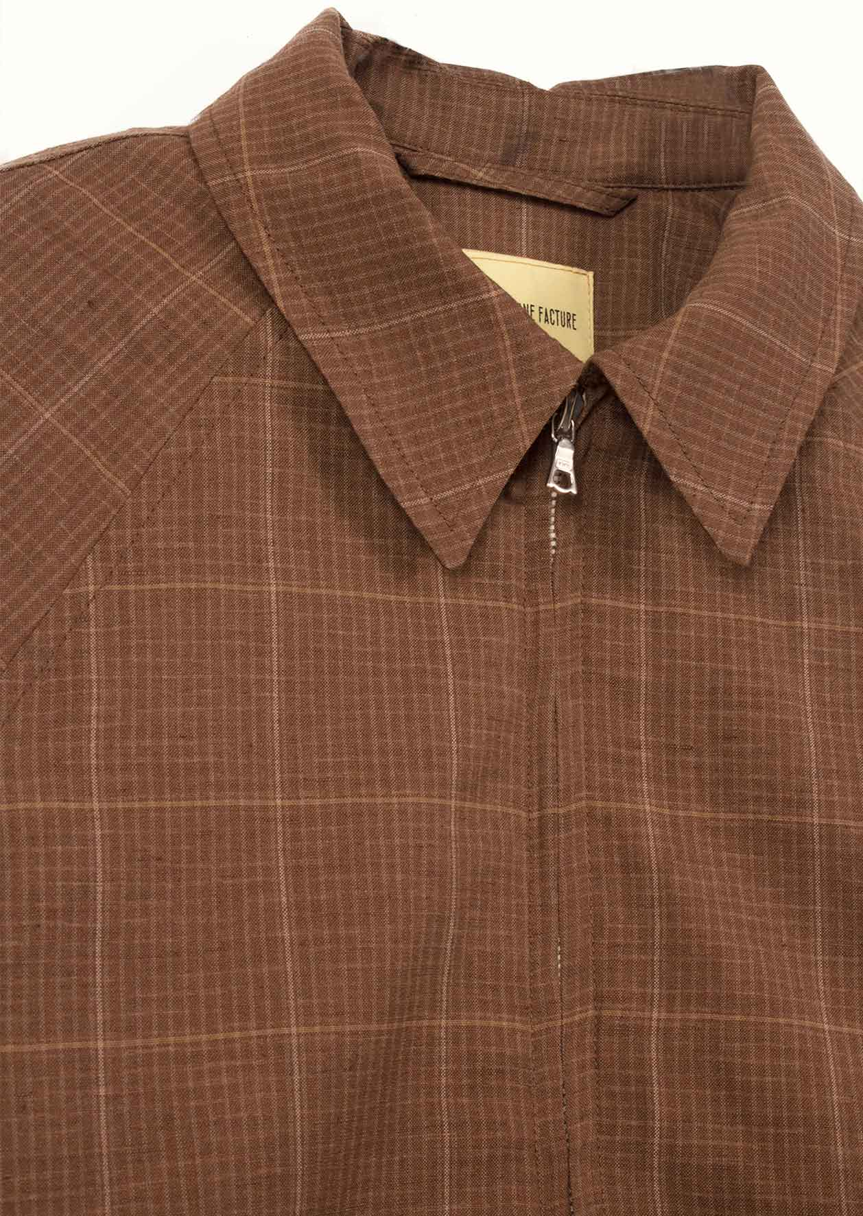 De Bonne Facture - Golf jacket - Washed wool & linen - Taupe checks