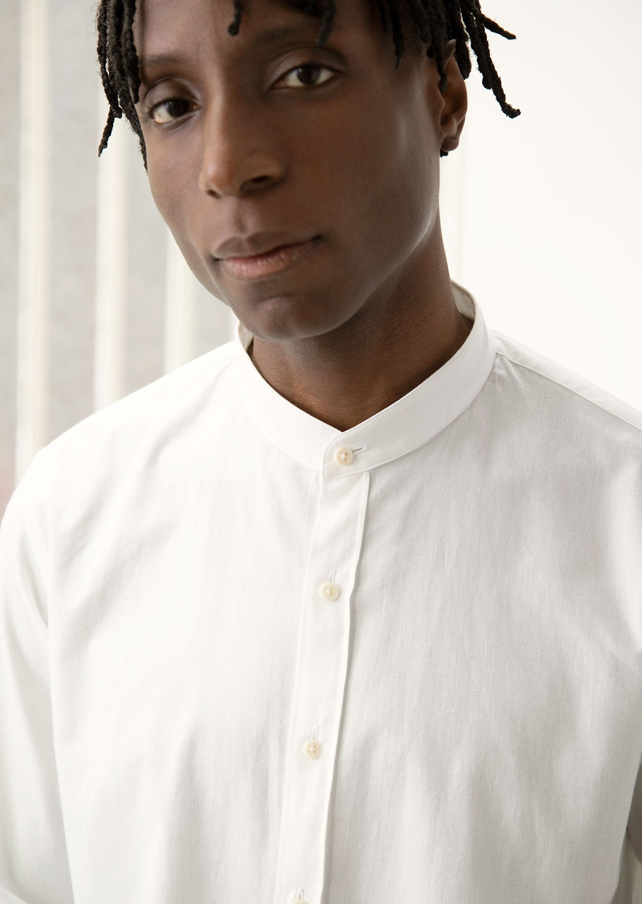 Mao collar De Bonne Facture - shirt - Japanese vintage cotton - White