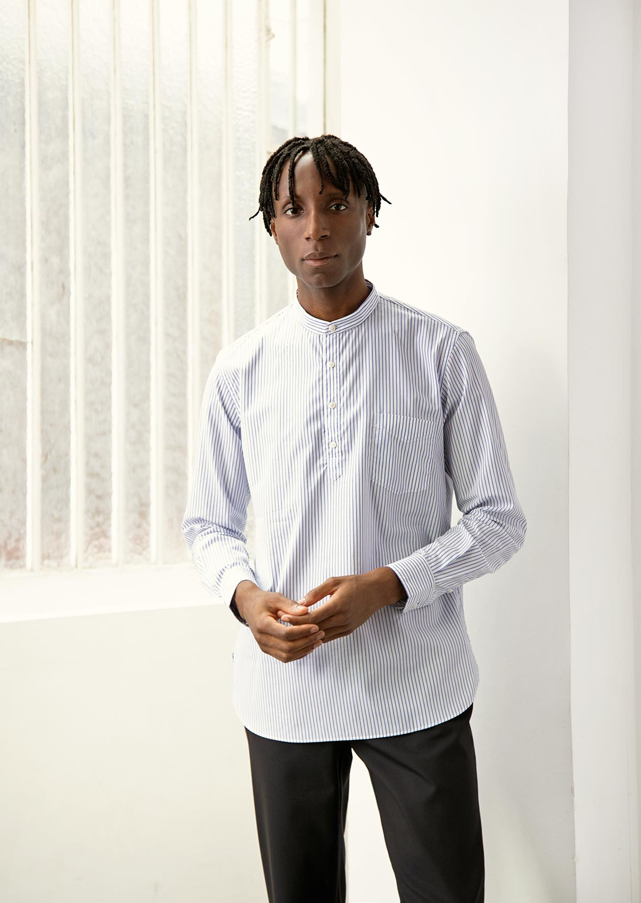 De Bonne Facture - Grandad popover shirt - Cotton poplin - White striped blue