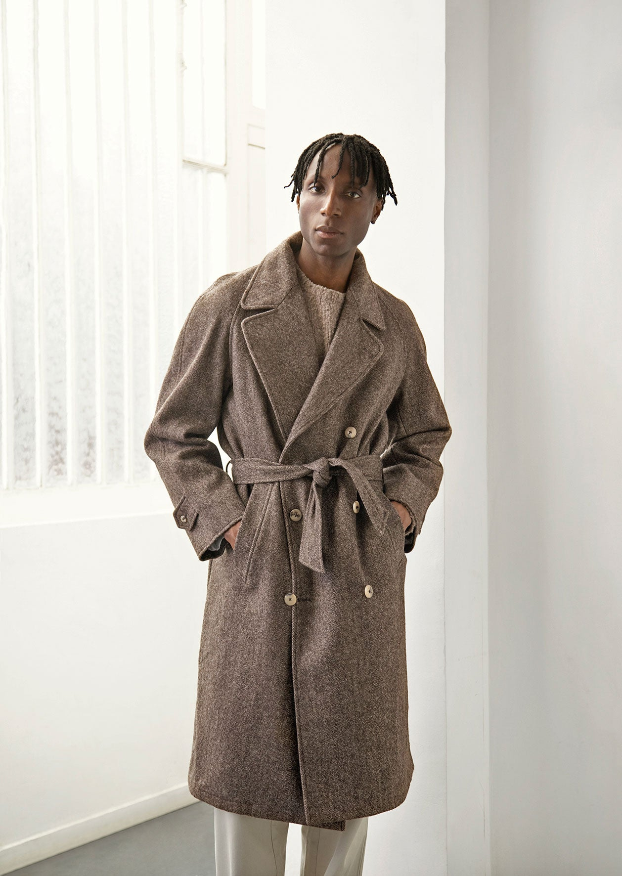 De Bonne Facture - Grandad trench coat - French local wools - Grey & brown herringbone