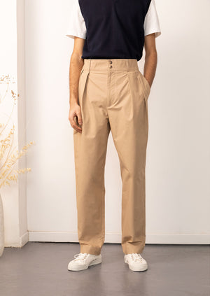 De Bonne Facture - High waisted trousers - Cotton compact - Camel