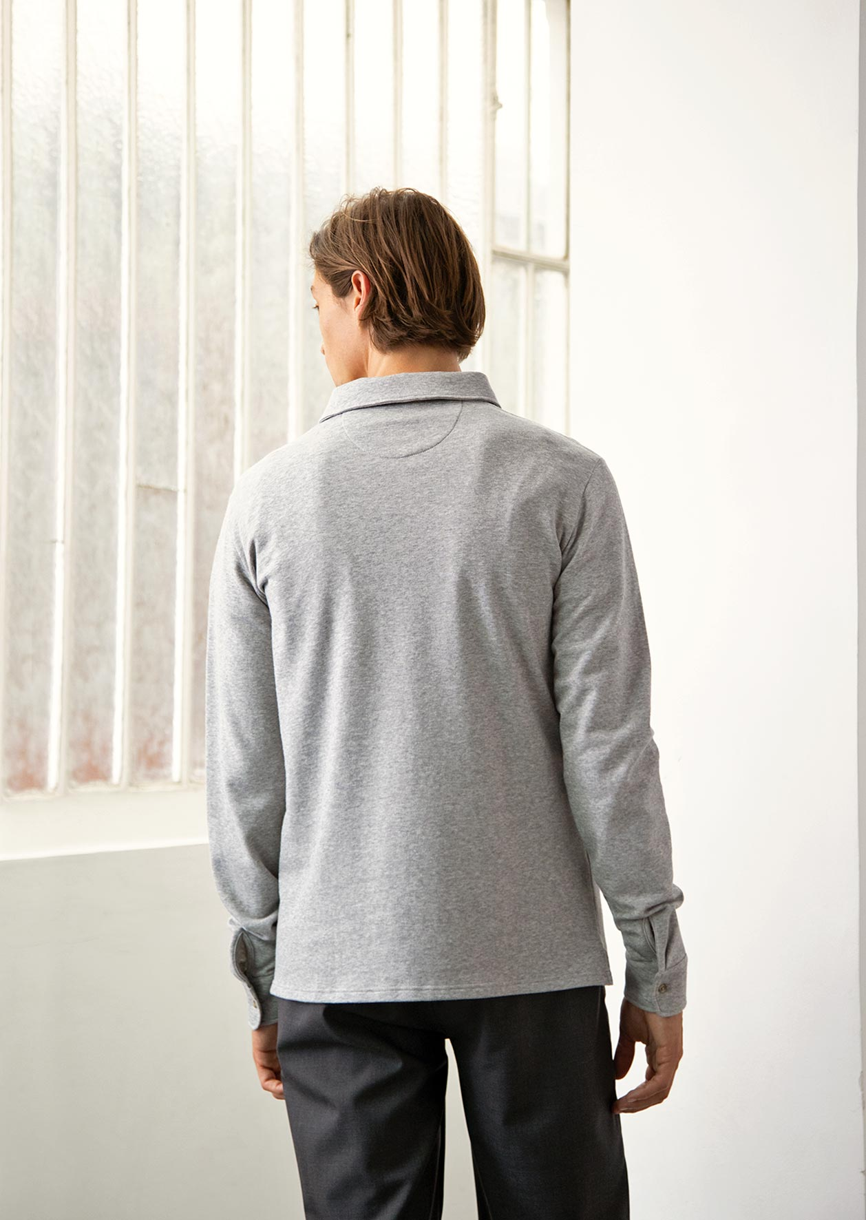 De Bonne Facture - Long sleeve polo shirt - Organic cotton jersey - Heathered grey