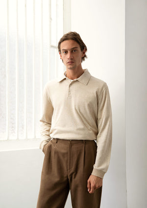 De Bonne Facture - Long sleeve polo shirt - Organic mini terry - Beige