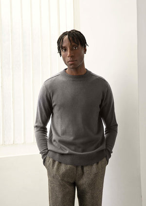 De Bonne Facture - Mock neck knit - Merino wool - Heathered grey