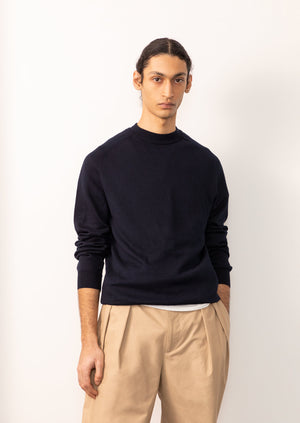 De Bonne Facture - Mock neck knit - Organic cotton - Navy