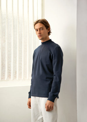 De Bonne Facture - Mock neck t-shirt - Fine cotton jersey - Navy