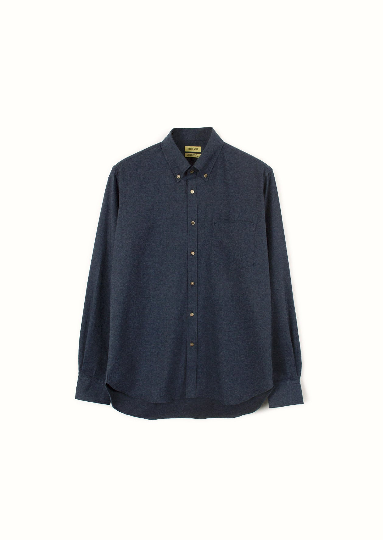 De Bonne Facture - Buttondown shirt - Cotton wool flannel - Navy
