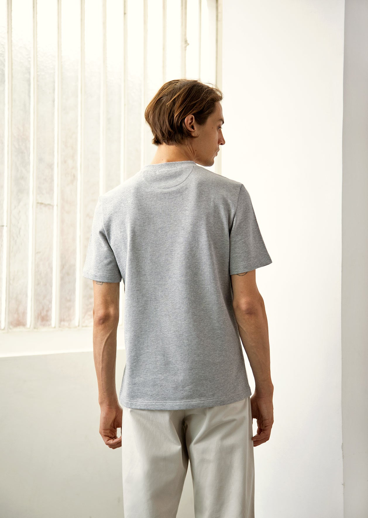 De Bonne Facture - Pocket t-shirt - Organic cotton jersey - Heathered grey