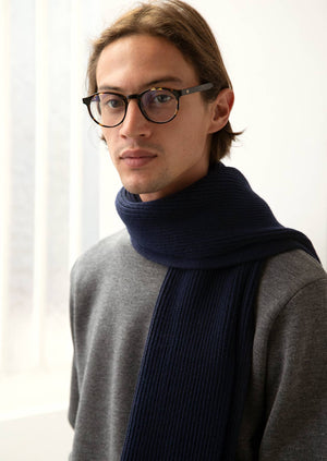 De Bonne Facture - Ribbed scarf - Merino wool - Navy