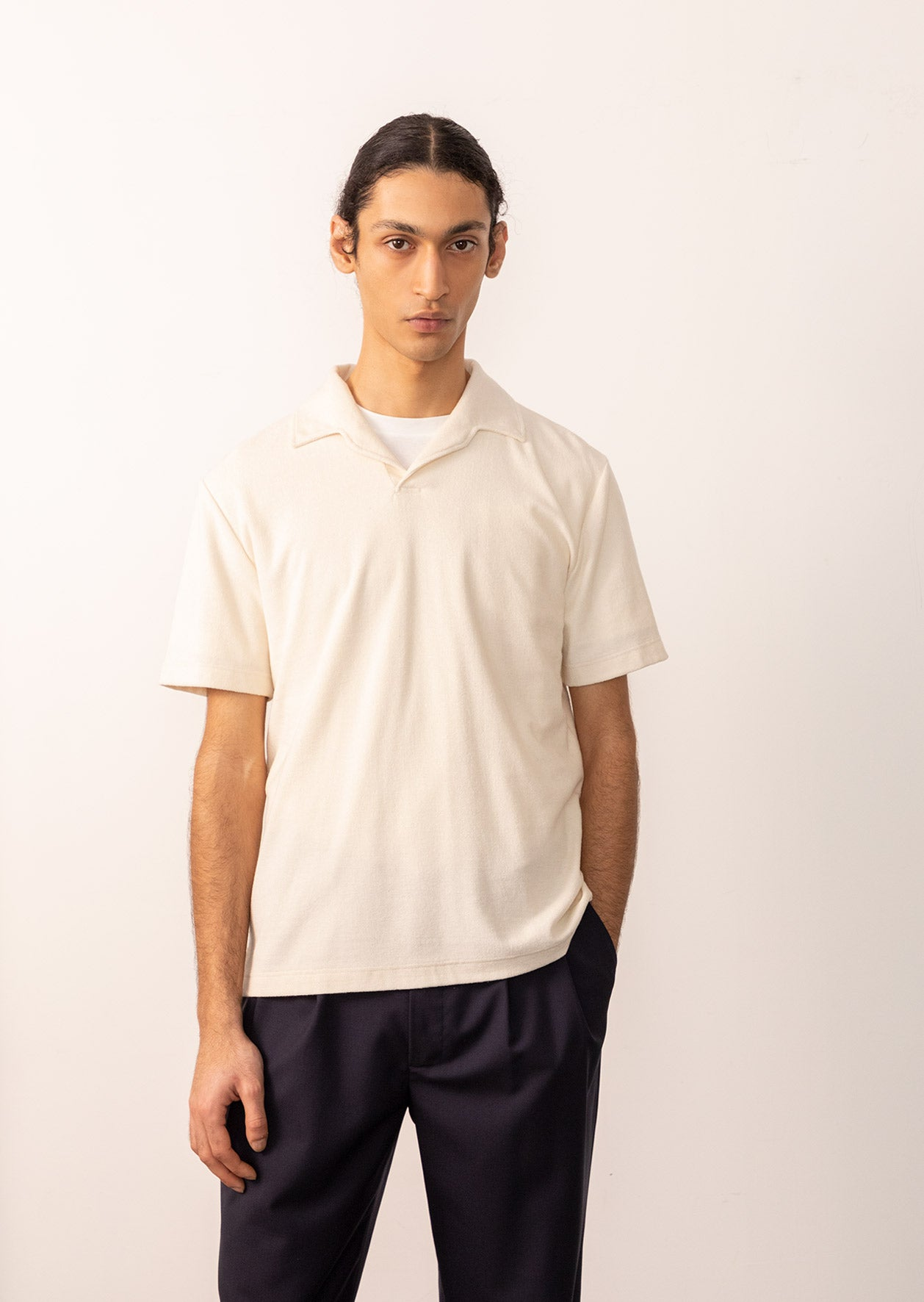 De Bonne Facture - Short sleeves polo - Organic cotton pile - Ecru