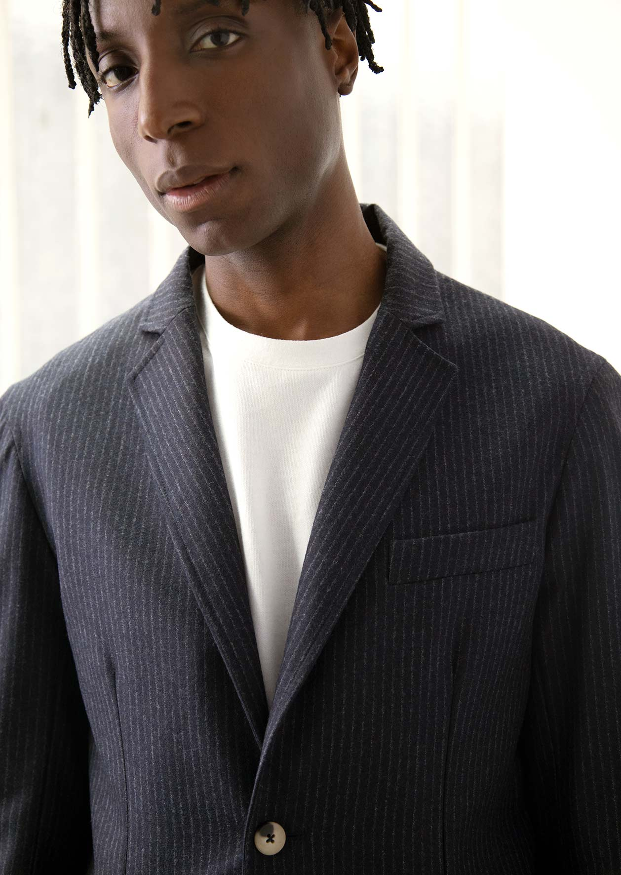 De Bonne Facture - Sports jacket - Wool flannel - Navy striped ecru
