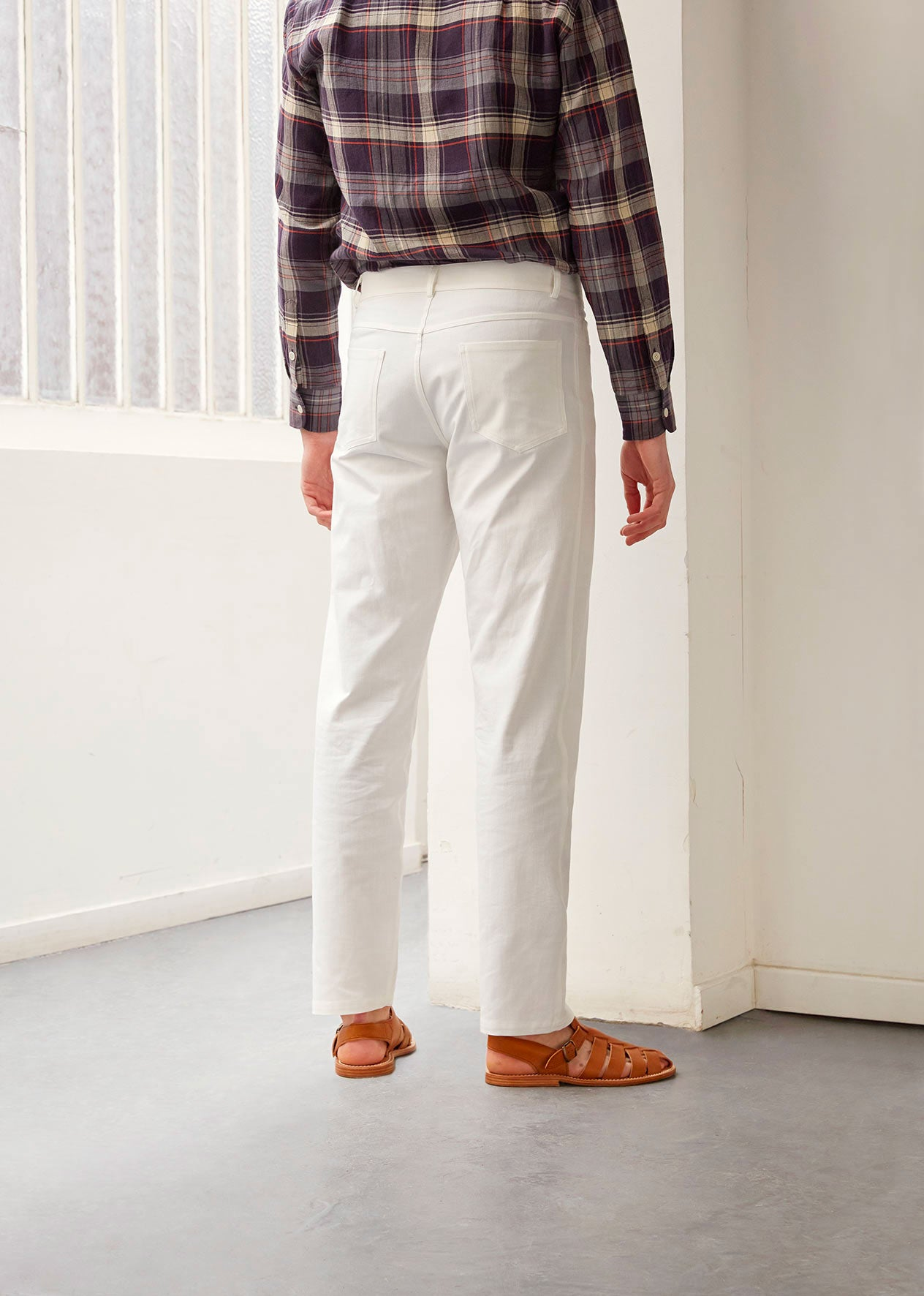 5 pocket trousers - Organic cotton twill - White - De Bonne Facture