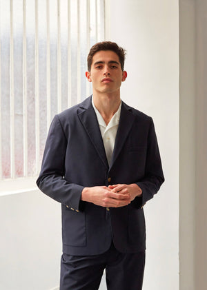 Tailored jacket - Tropical wool - Navy - De Bonne Facture