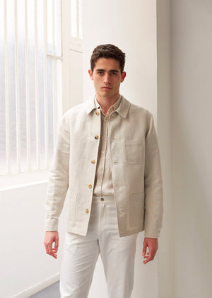 Architect jacket - Organic cotton & linen - Undyed herringbone - De Bonne Facture