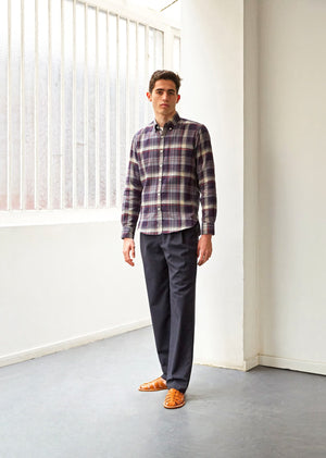 Buttondown shirt - Japanese cotton crepe - Navy check - De Bonne Facture
