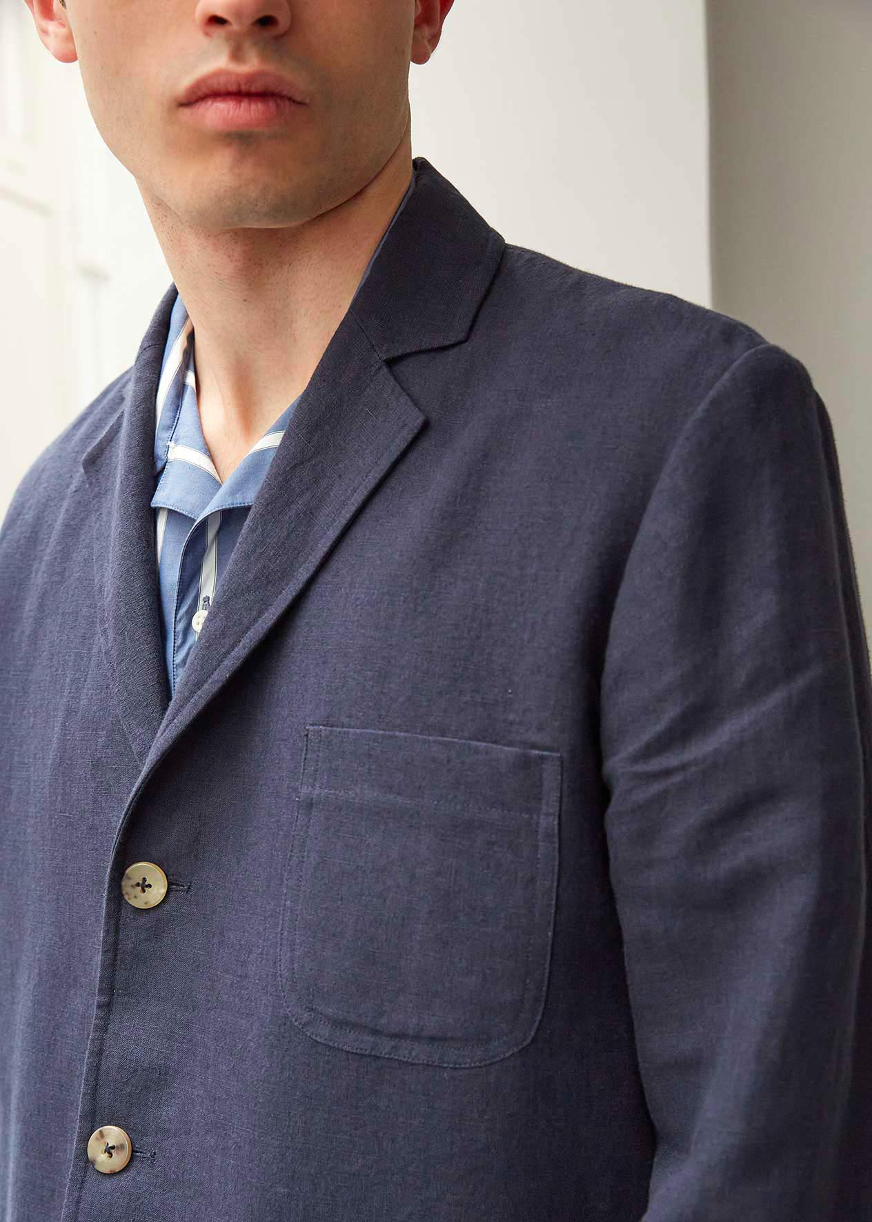 Casual jacket - Washed & brushed linen - Navy - De Bonne Facture