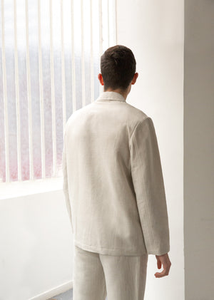 Casual jacket - Organic cotton & linen - Undyed Herringbone - De Bonne Facture