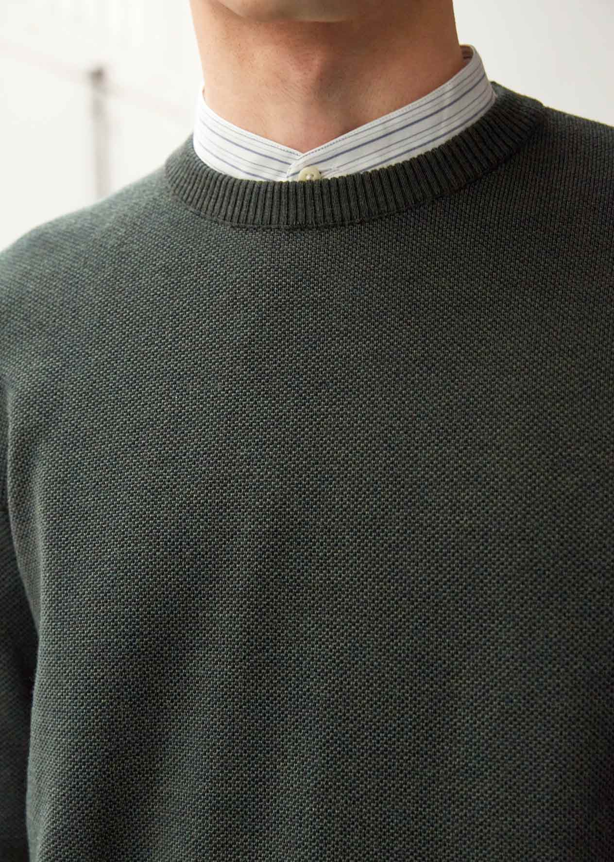 Crew neck knit - Merino soft wool - Green - De Bonne Facture