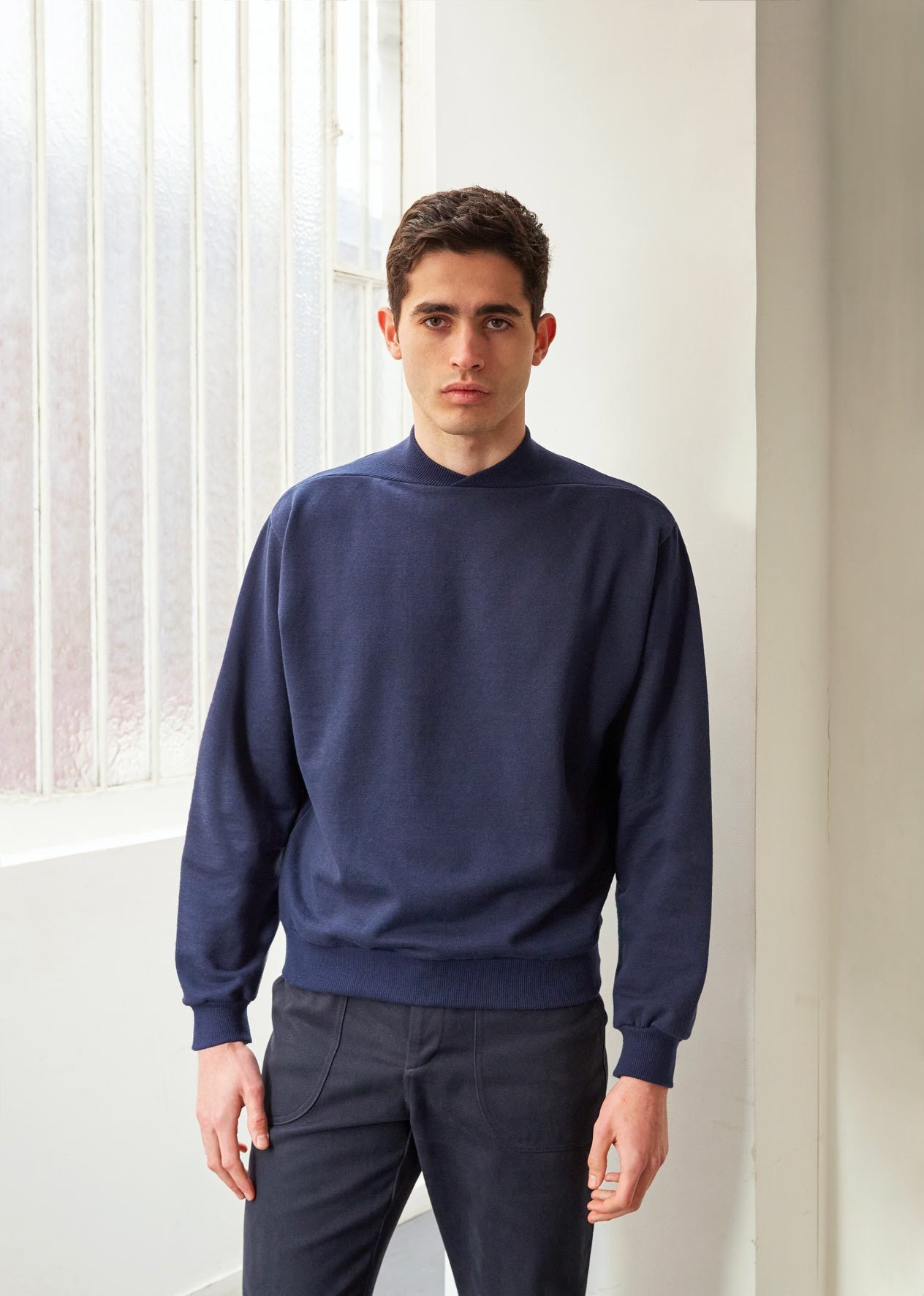 Cyclist sweatshirt - Supima® cotton fleece - Navy - De Bonne Facture