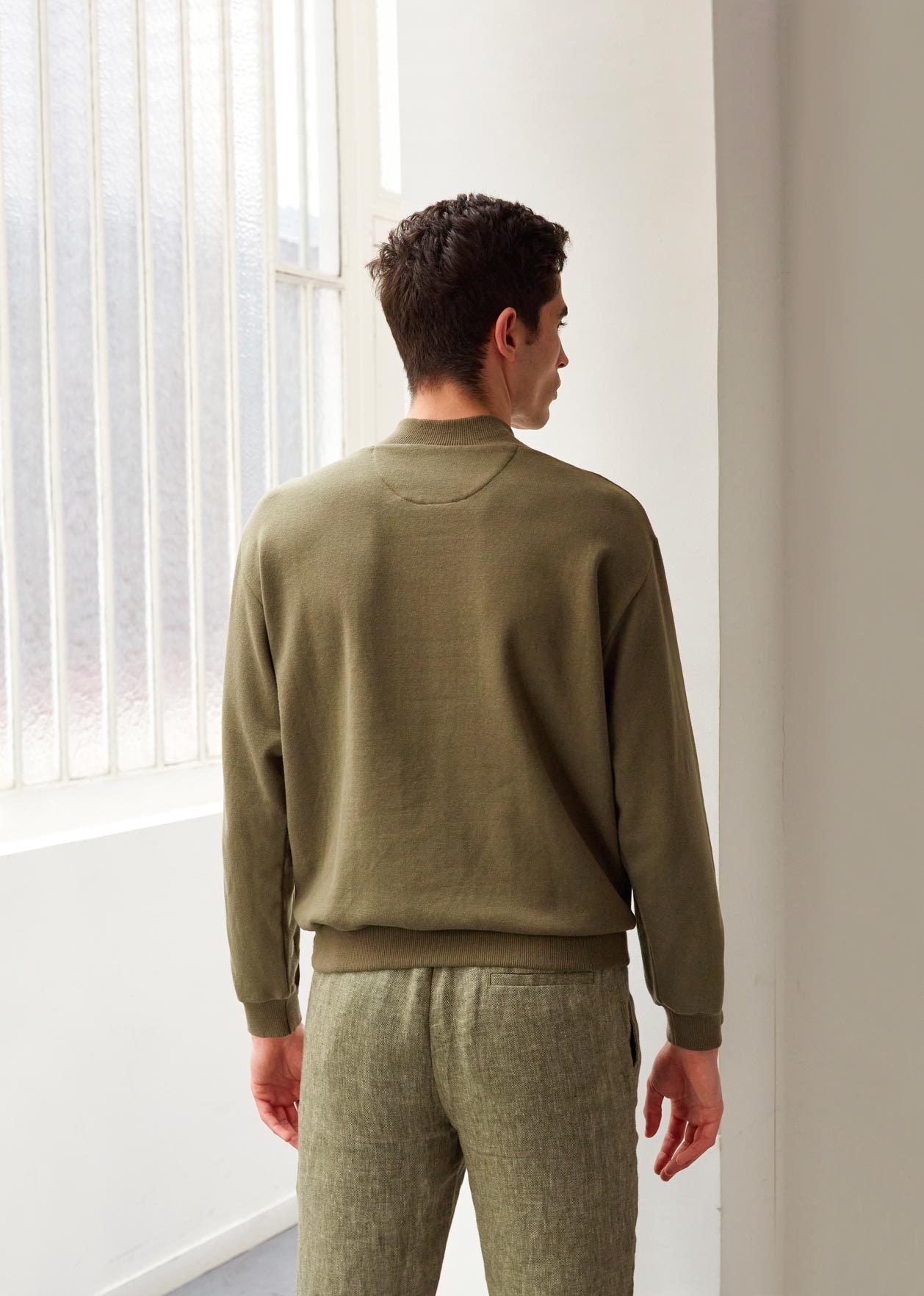 Cyclist sweatshirt - Supima® cotton fleece - Khaki - De Bonne Facture
