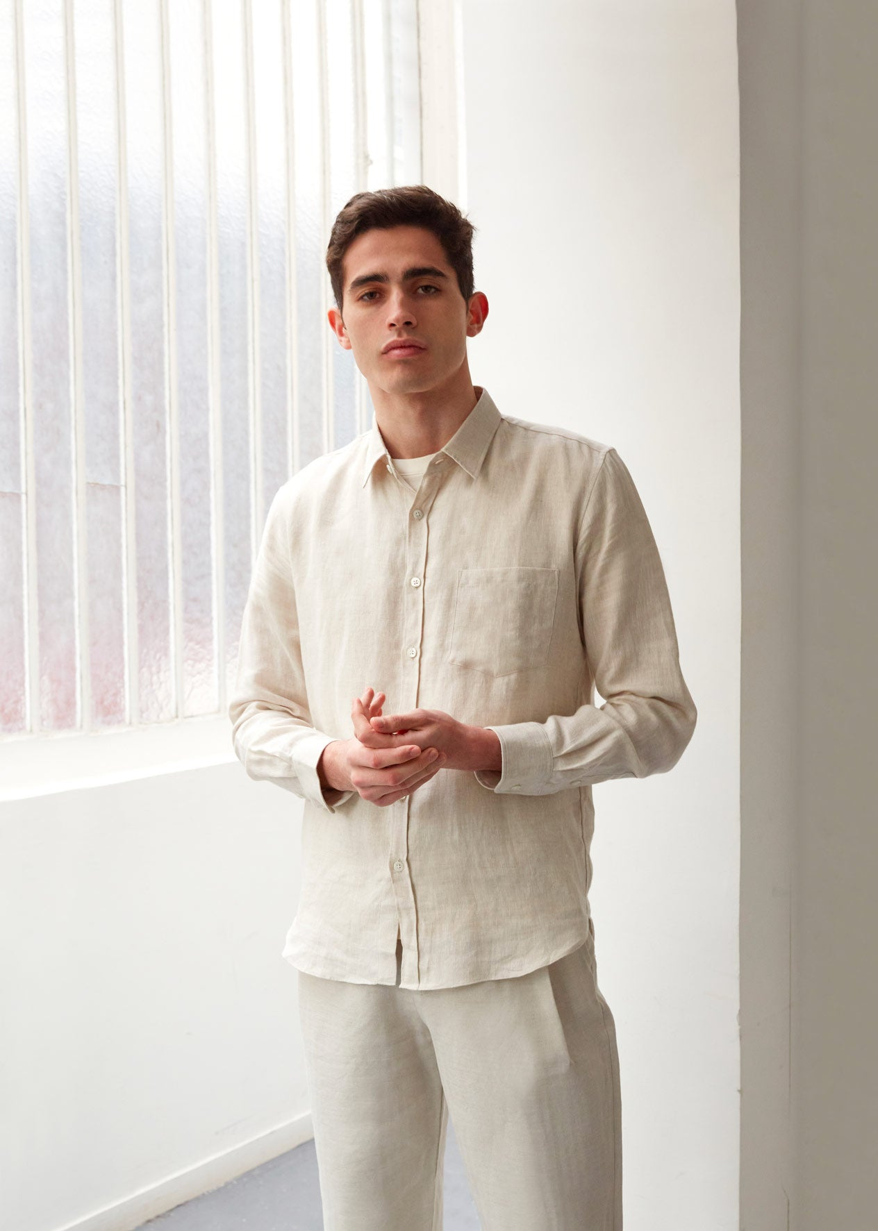 Essential shirt - Brushed linen - Oatmeal - De Bonne Facture
