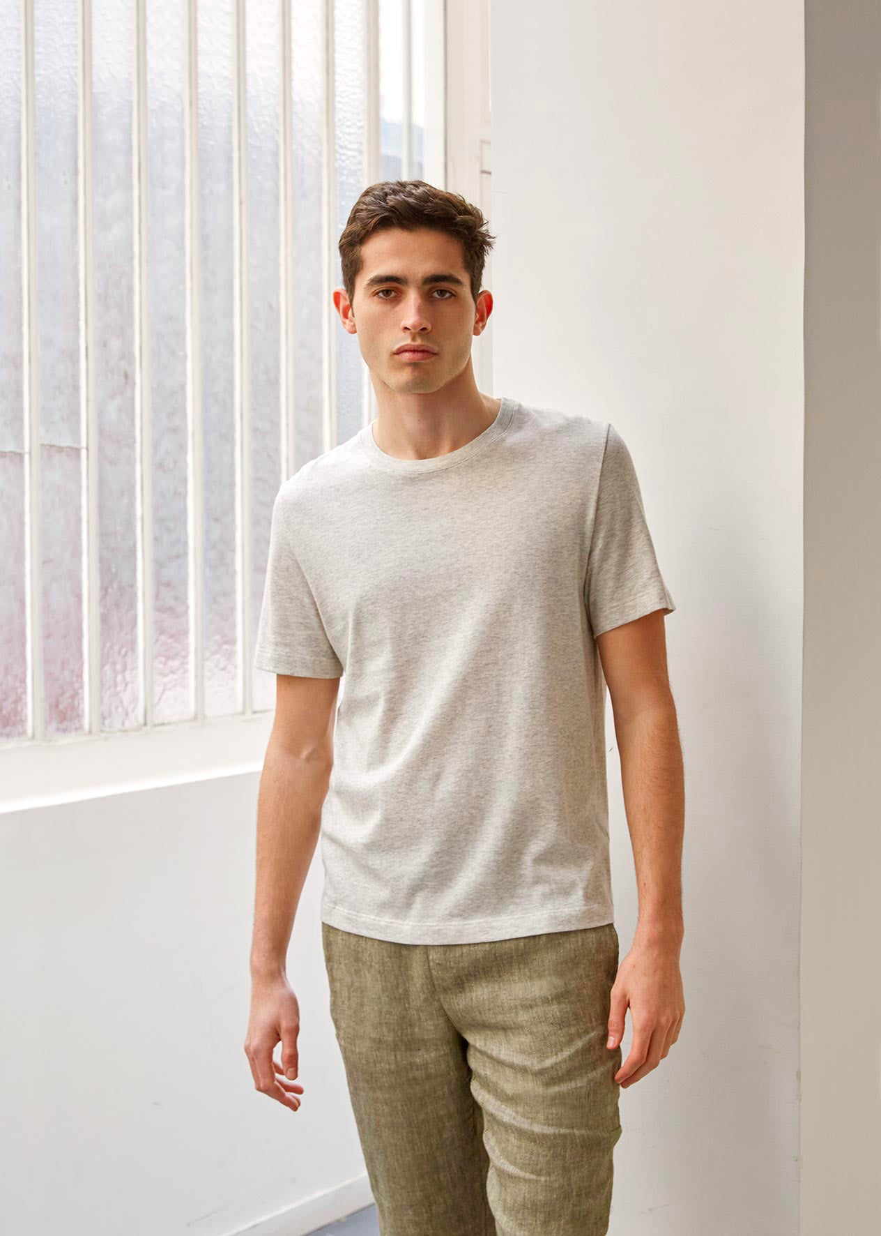 Essential t-shirt - Organic cotton jersey - Heathered grey - De Bonne Facture