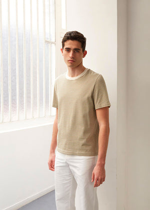 Essential t-shirt - Japanese cotton jersey - Khaki stripes - De Bonne Facture