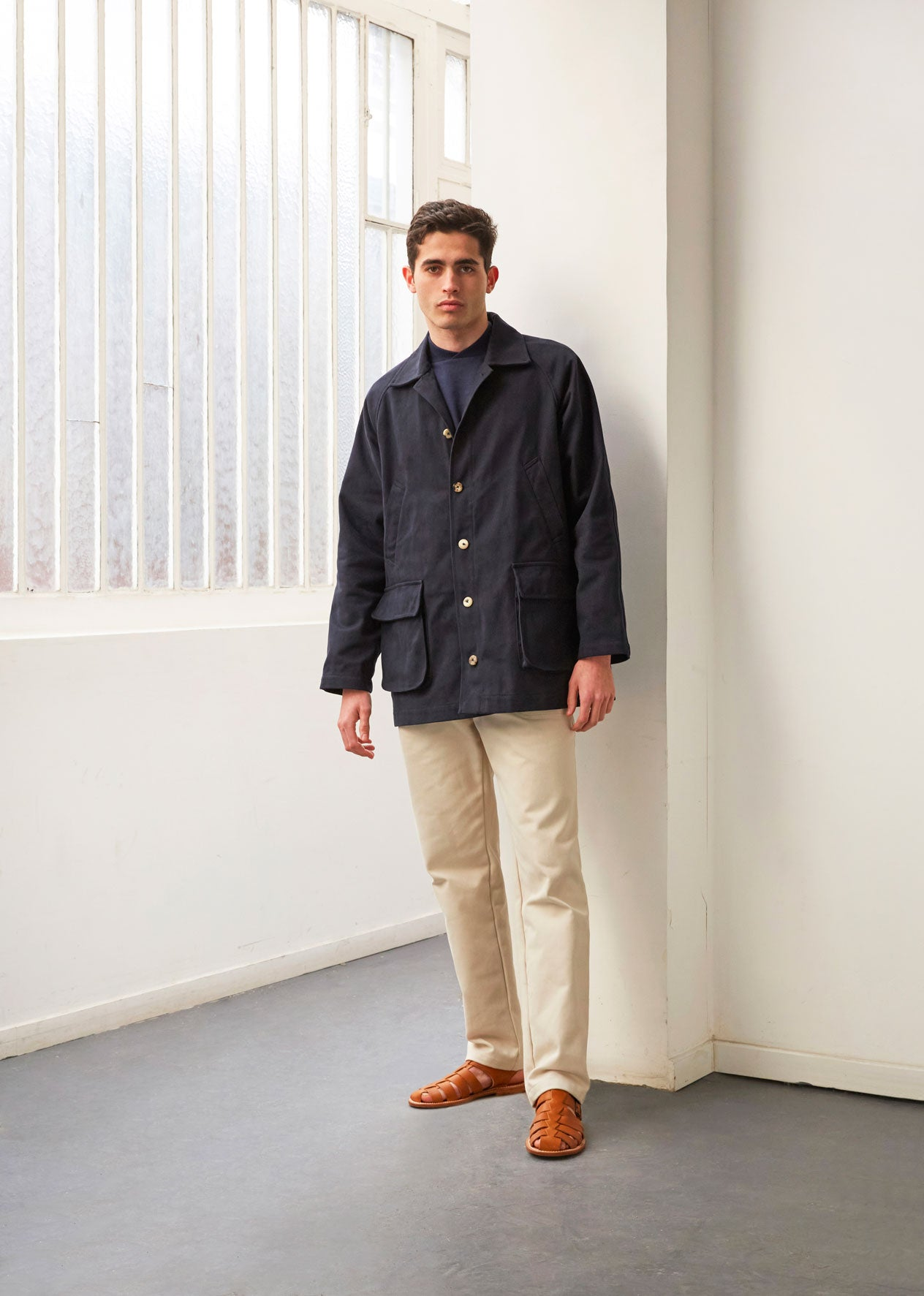 Hunting jacket - Heavy cotton drill - Navy - De Bonne Facture