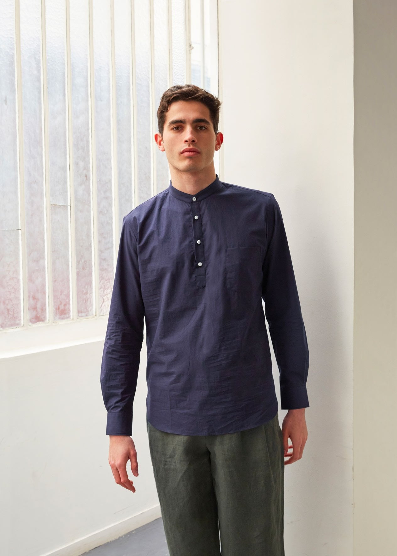 Mao collar popover shirt - Typewriter cotton - Navy - De Bonne Facture