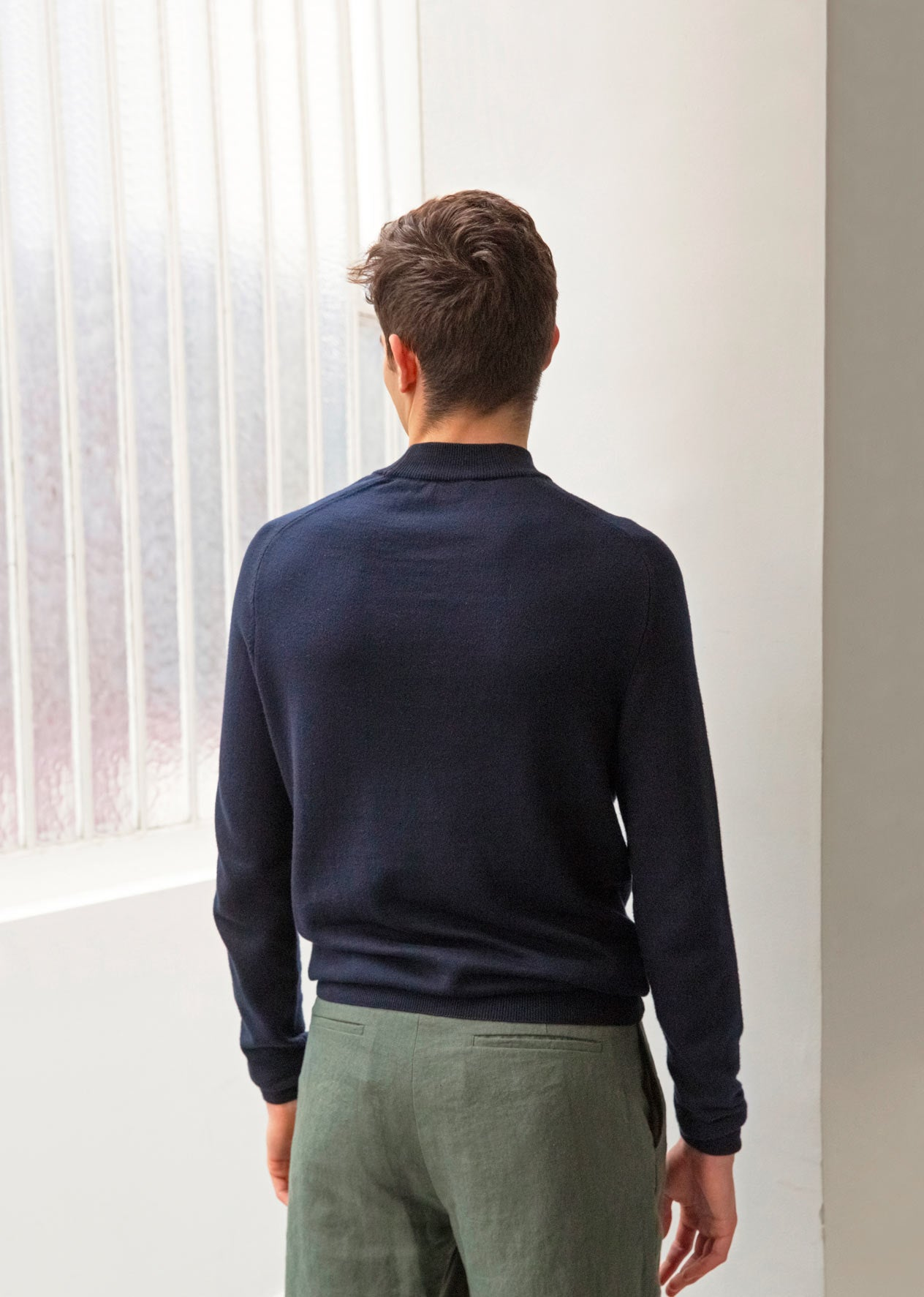 Mock neck knit - Organic cotton - Navy - De Bonne Facture