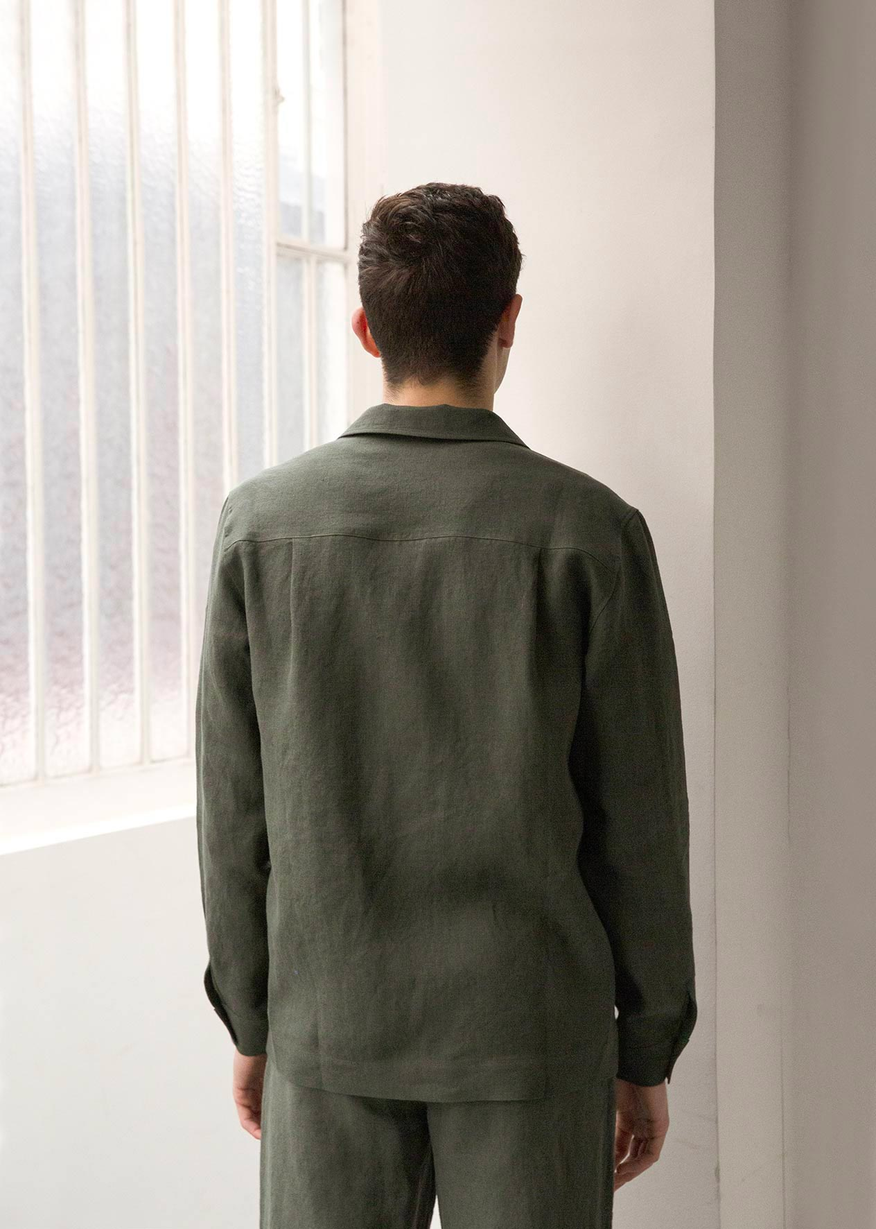 Painter's jacket - Belgian washed linen - Jade - De Bonne Facture