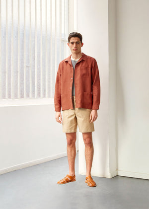Painter's jacket - Belgian washed linen - Paprika - De Bonne Facture