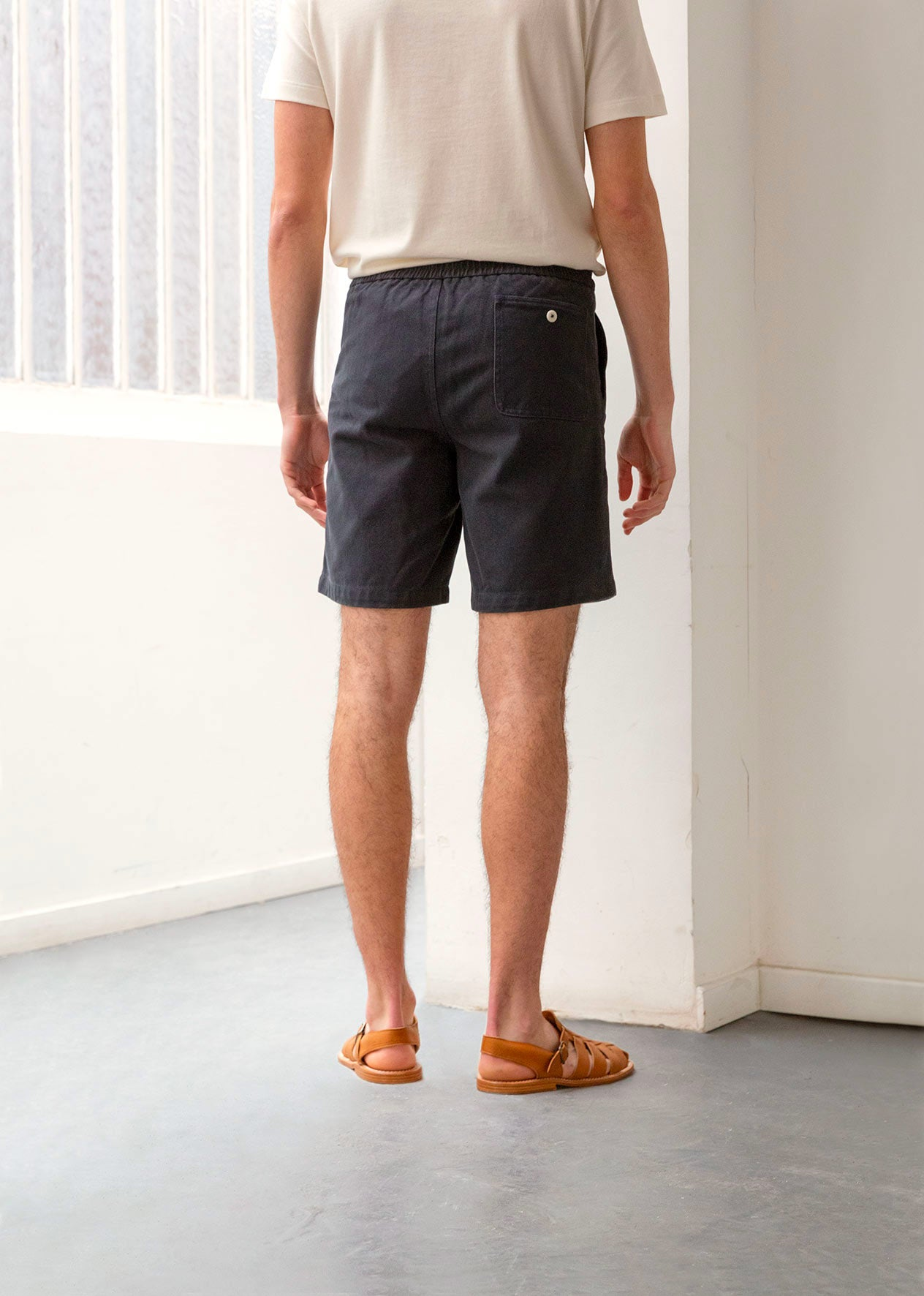 Painter's short - Organic cotton twill - Navy - De Bonne Facture
