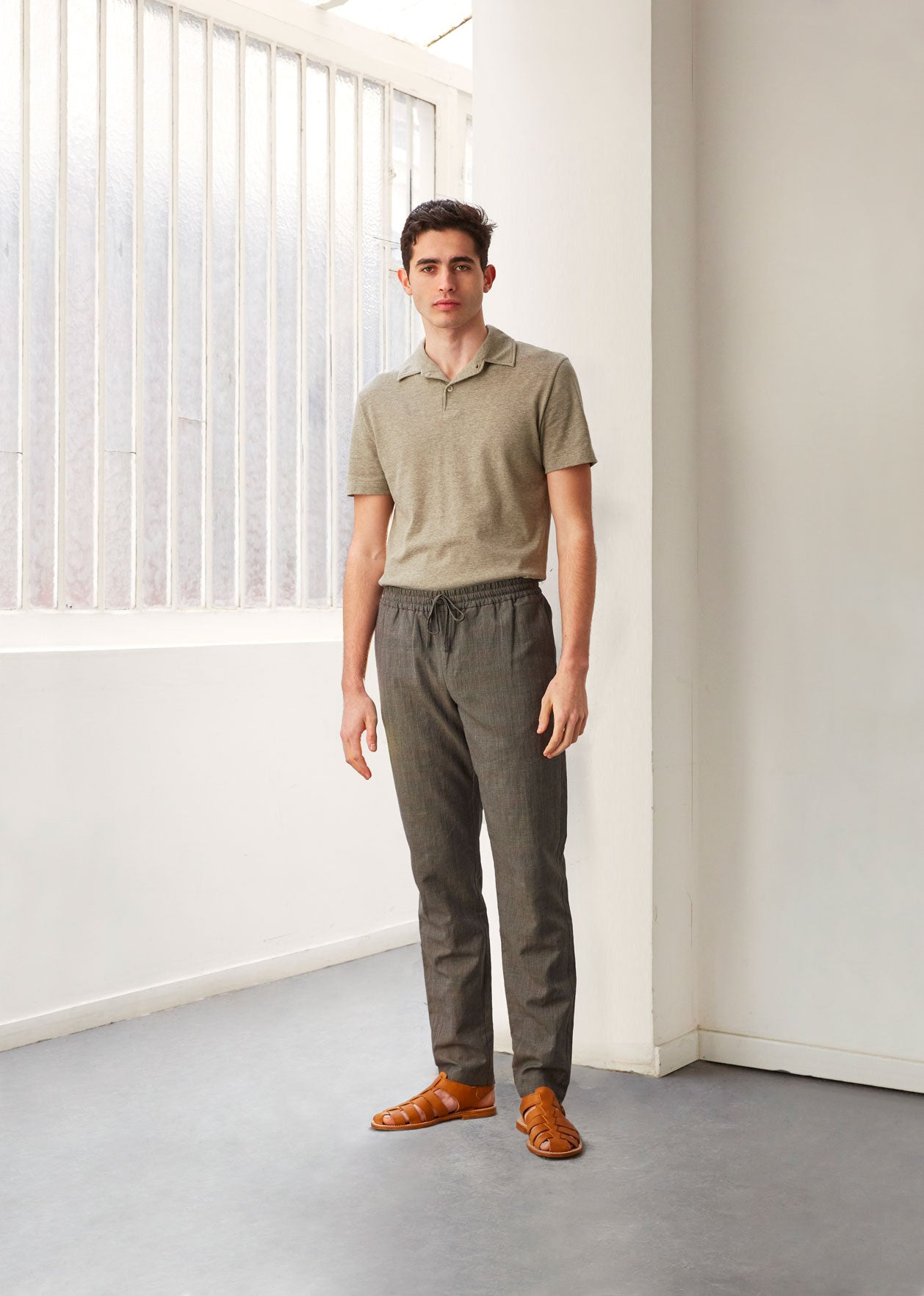 Relaxed trousers - Linen and wool blend - Green glencheck - De Bonne Facture