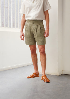 Pleated bermuda shorts - Linen herringbone - Khaki & ecru - De Bonne Facture