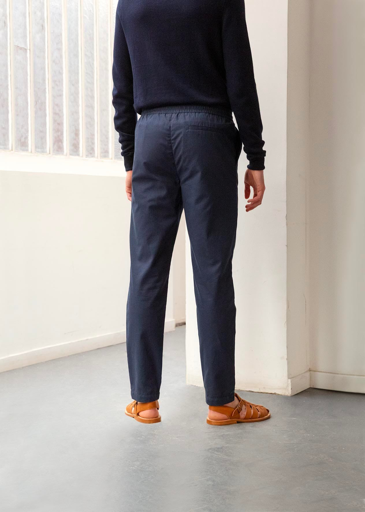 Relaxed trousers - Organic cotton twill - Navy - De Bonne Facture
