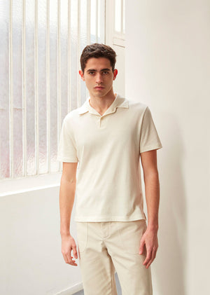 Short sleeve polo shirt - Organic cotton - Ecru - De Bonne Facture