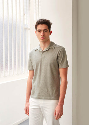 Short sleeve polo shirt - Organic cotton - Khaki - De Bonne Facture