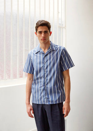 Short sleeve shirt - Japanese cotton poplin - Wide blue stripes - De Bonne Facture
