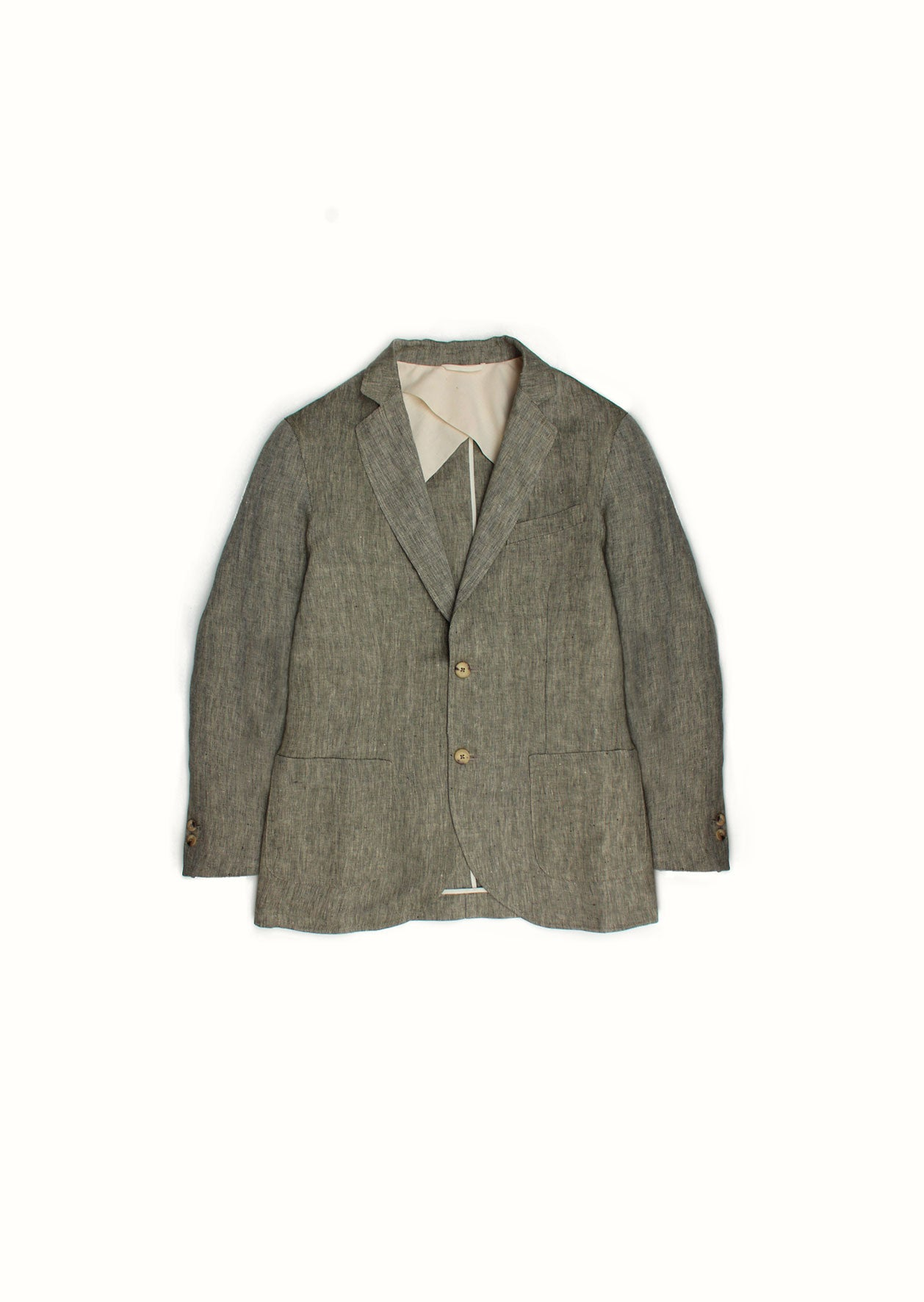 Sports jacket - Linen herringbone - Khaki & ecru - De Bonne Facture