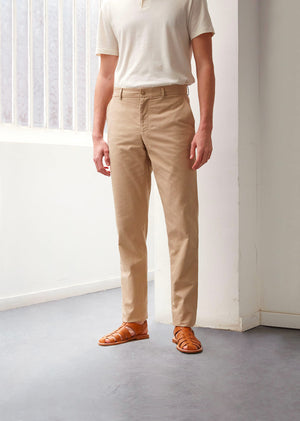 Tailored trousers - Organic cotton twill - Beige - De Bonne Facture