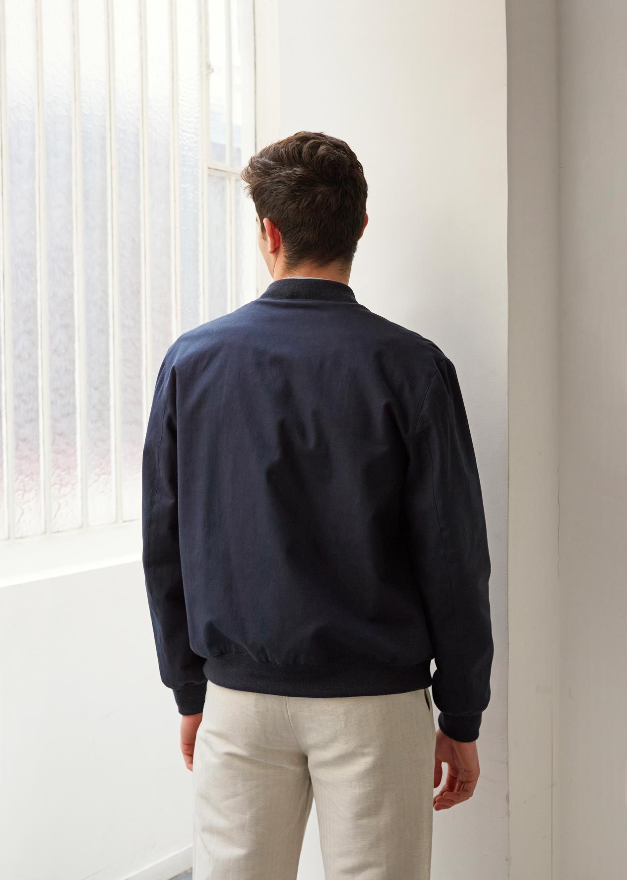 Teddy jacket - Organic cotton twill - Navy - De Bonne Facture